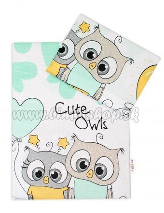 2-dielne bavlnené obliečky 135x100 cm, Cute Owls - zelené