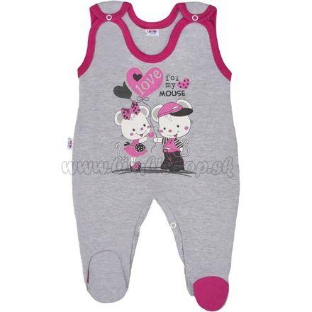 Detské dupačky New Baby Love Mouse ružová 52
