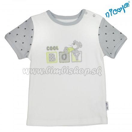 Dojčenské bavlnené tričko Nicol,  Boy - krátky rukáv,  sivé/smotanová