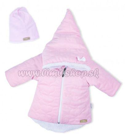 Luxusná prešívaná bundička, kabátik s čiapočkou Nicol Velvet Škriatok - ružová, veľ. 68