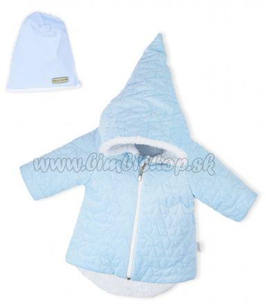 Luxusná prešívaná bundička, kabátik s čiapočkou Nicol Velvet Škriatok - sv. modrá