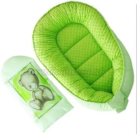 Obojstranné hniezdočko, kokon Baby Nellys Teddy Minky 80x45x15cm - zelené
