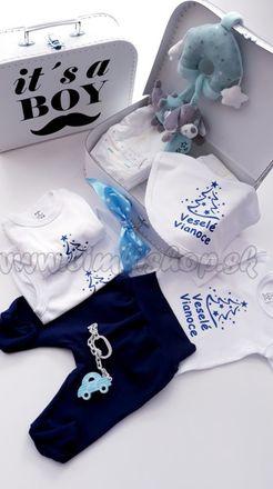 Skladom Plienková torta kufrík Boy Veselé Vianoce modrá