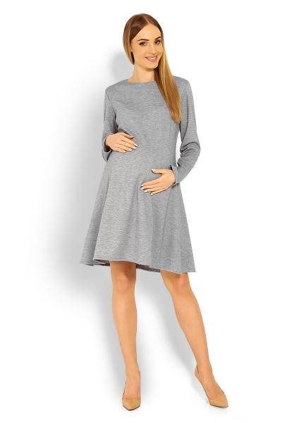 Elegantné voľné tehotenské šaty dl. rukáv - svetlo šedá cbb13f44c78