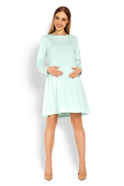 Elegantné voľné tehotenské šaty dl. rukáv - mátová 6a9ce382cb3