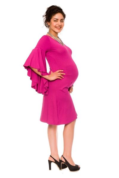b156ea89da0e Elegantné voľné tehotenské šaty Kamila - tm. růžová