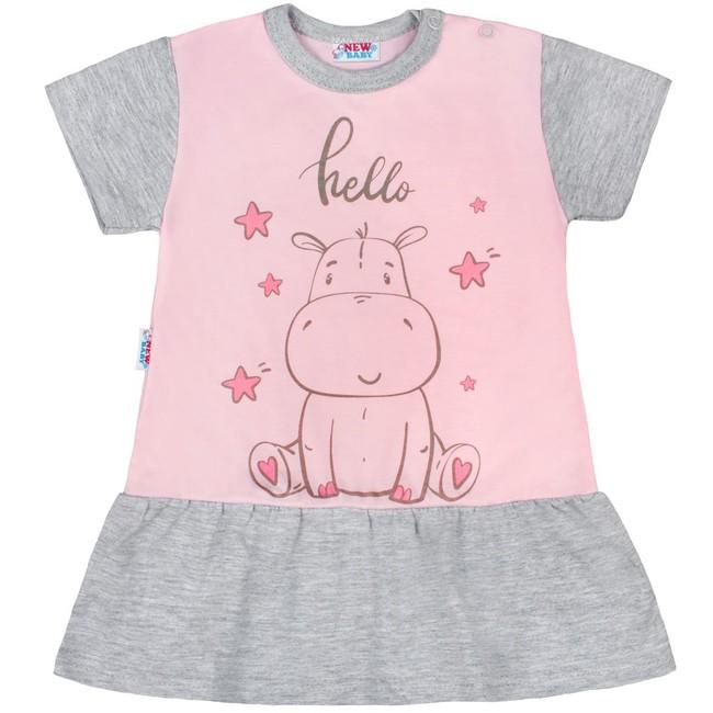 5fa977336 Letná nočná košieľka s nohavičkami New Baby Hello s hrošíkom ružovo-sivá  ružová 74 (