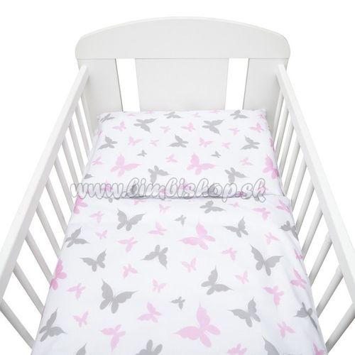 2-dielne posteľné obliečky New Baby 100/135 cm biele motýle biela