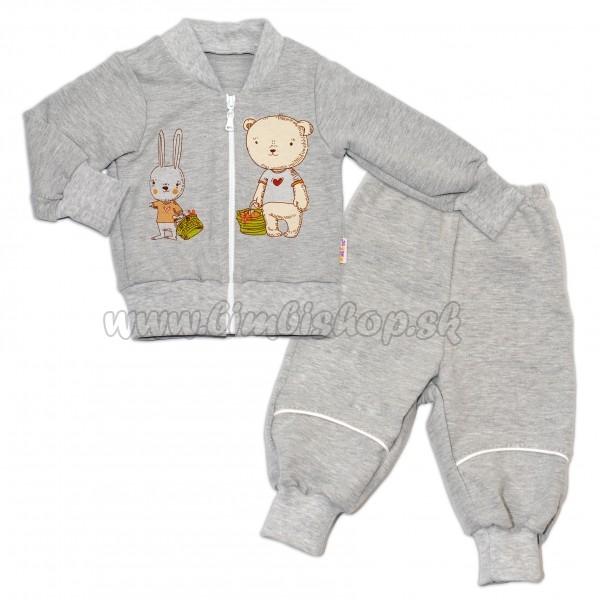 ae50086df Bavlnená tepláková súprava Baby Nellys ® - šedá - Detské oblečenie ...