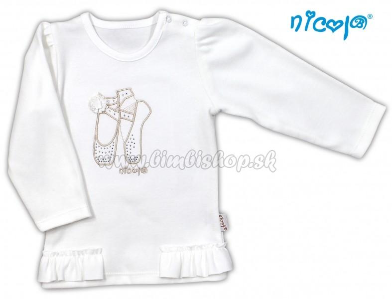 a262c384f87d Bavlnené tričko blúzka NICOL BALETKA dlhý rukáv - biele - Detské ...