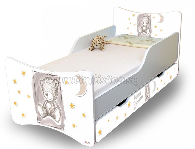 61ef973279765 Detská posteľ NELLYS Sweet TEDDY s zásuvkou - sivý - Detské ...