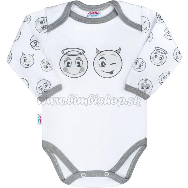 c3e2806e248b Dojčenské bavlnené body s dlhým rukávom New Baby Emotions biela 86 (12-18m)