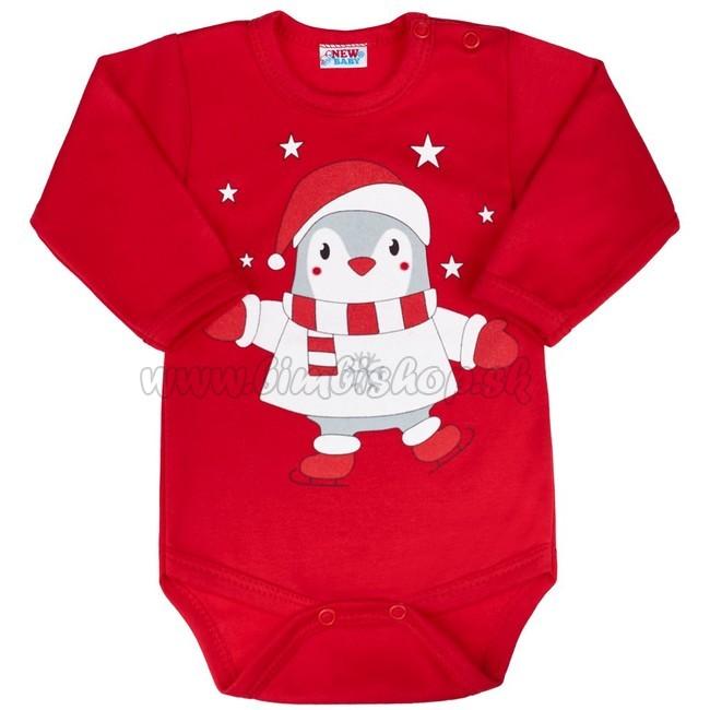 c9f8643a0 Dojčenské body s dlhým rukávom New Baby Winter Penguin Červená 56 (0-3m)