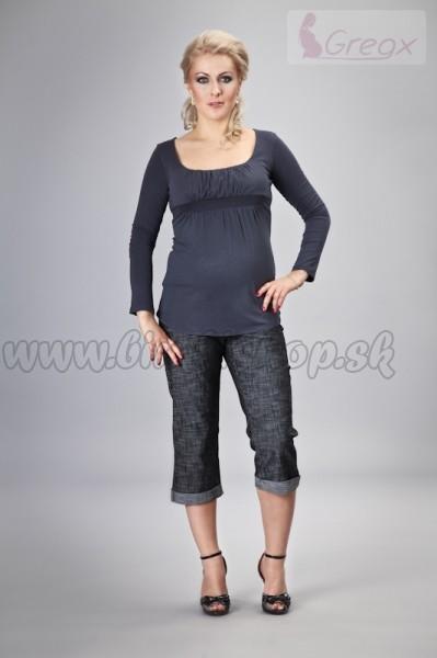 aac0c37dff Elegantné tehotenské 3 4 nohavice DENIM - čierny melír