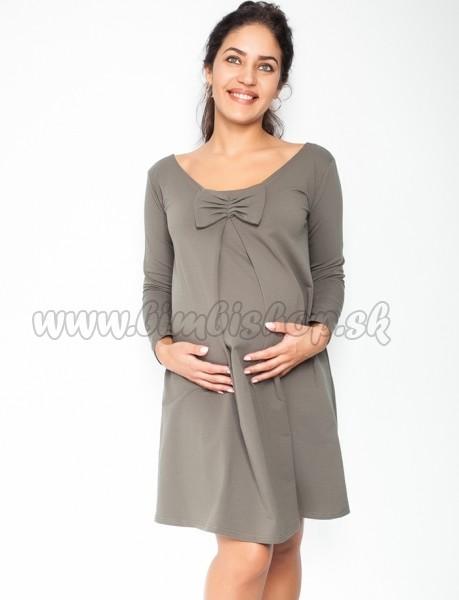 dcb6ab094 Elegantné tehotenské šaty, áčkový strih, dlhý rukáv - khaki - Detské ...