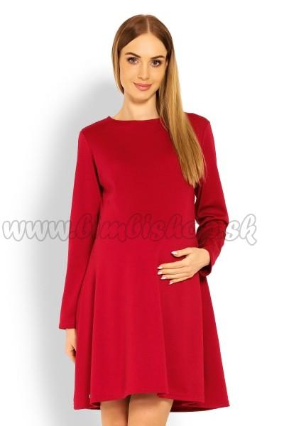 0b73e9781bd7 Elegantné voľné tehotenské šaty dl. rukáv - bordo