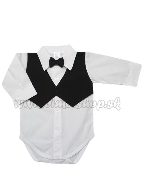 2b57ea8e7ca7 Košeľové body detské s dlhým rukávom vesta+motýlik čierna