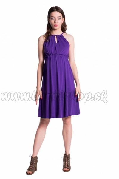 552b7d85f0ef Letné tehotenské šaty na ramienkach - fialové