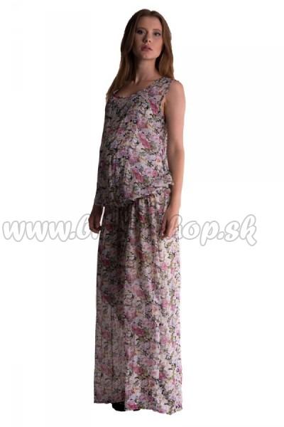 79fb00c0b Letné, vzdušné tehotenské šaty s potlačou kvetín - růžová, veľ. UNI ...
