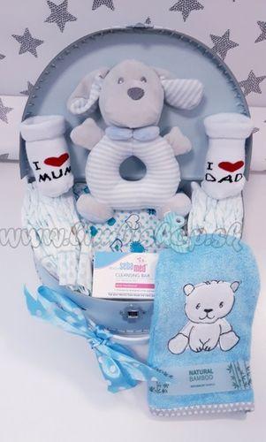 Skladom Plienková torta oblúk Baby Maxi plienkový kufrík modrá