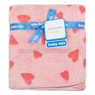 Detská obojstranná deka Baby Mix ružová so srdiečkami ružová