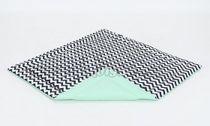 Hracia, prebaľovacia podložka 120x120cm - biela/zigzag čierny-mätová