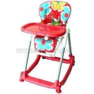 Jedálenský stolček BABY MIX - červený s kvetinkami
