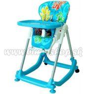 Jedálenský stolček BABY MIX - modrý s lístočkami