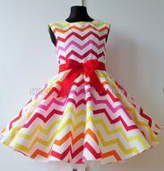 Skladom Detské RETRO šaty Cik cak žltá 134-146