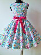 Skladom Detské RETRO šaty Kruhy tyrkysové146-152