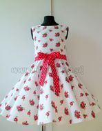 Skladom Detské RETRO šaty Ruža červená/biela 146-152