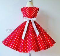 Skladom Detské RETRO šaty Bodky červená 146-152