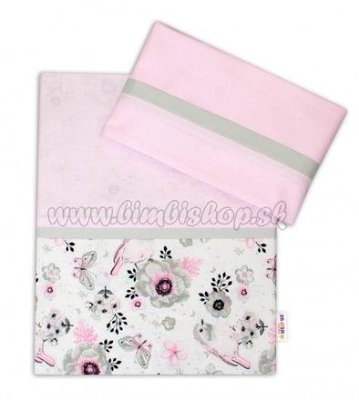 2-dielne bavlnené obliečky Baby Nellys, Vtáčiki - růžová, 135x100cm