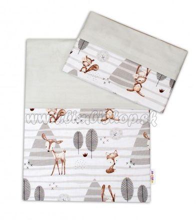Skladom 2-dielne bavlnené obliečky Baby Nellys, Zvieratka v lese - sivá, 135x100
