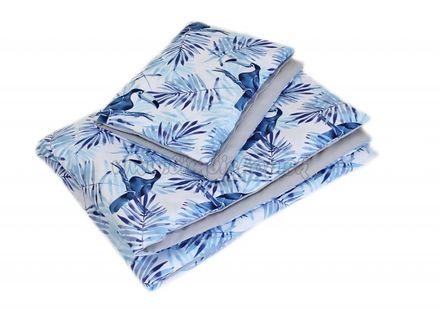 2-dielne obliečky 135x100, Tukan, bavlnené - sivá, modrá