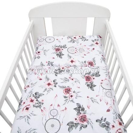2-dielne posteľné obliečky New Baby 100/135 cm biele kvety a pierka biela