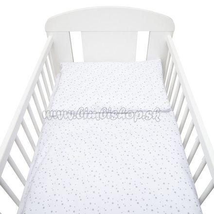 Skladom 2-dielne posteľné obliečky New Baby 100/135 cm biele sivé hviezdičky biela