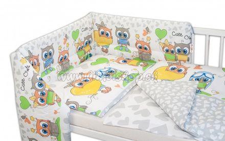 3- dielná sada mantinel s obliečkami Cute Owls - sivá
