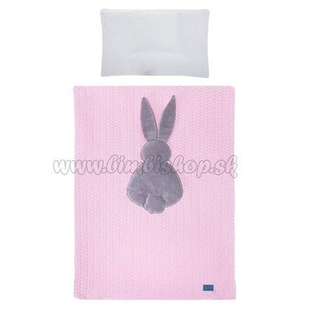 5-dielne posteľné obliečky Belisima Králiček 100/135 ružovo-sivé ružová