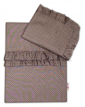 Skladom Baby Nellys 2-dielne bavlnené obliečky s volániky - tm. sivé/biele, 135 x 100