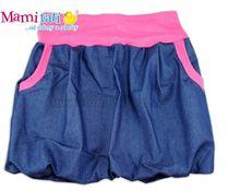 f24542988a78 Balónová sukně NELLY - jeans denim granát  růžové lemy