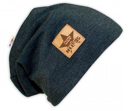 Bavlnená čiapočka Baby Nellys ® - grafit, veľ. 52 - 54 cm