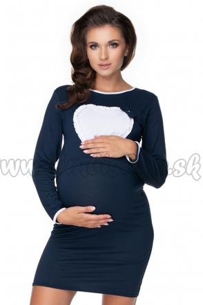 Skladom Be MaaMaa Tehotenská, dojčiaca nočná košeľa srdce, dl. rukáv - granátová, L/XL