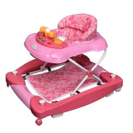 Eco toys Chodítko s hojdačkou - ružové