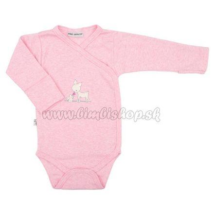Skladom Dojčenské bavlnené celorozopínacie body Baby Service Baby Deer ružová 50