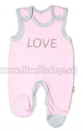 Skladom Dojčenské bavlnené dupačky Baby Nellys, Love - ružové, veľ. 56