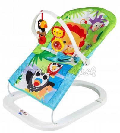Eco toys Dojčenské ležadlo s vibrácií a hudbou 3v1 - Animals - modré, zelené