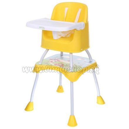 Jedálenský stolček ECO TOYS 2v1 PANDA - žltý