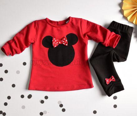 Skladom K-Baby Sada triko/mikinka + legíny Minnie - čierna/červená, veľ. 98