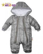 Kombinézka s kapucňu LUX Baby Nellys ®prošívaná - sivý a04d01ad3fa